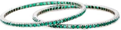 Shrungar Sterling Silver Emerald Sterling Silver Bangle Set