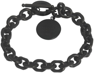 the jewelbox Stainless Steel Black Silver Bracelet