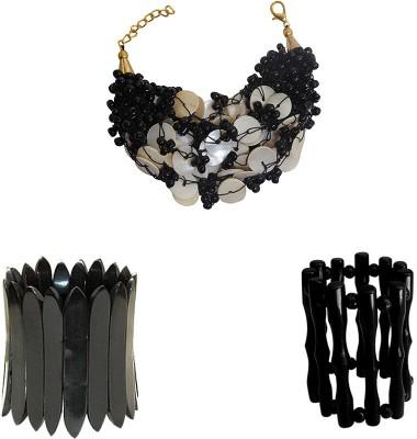 Kenway Retail Glass, Bone, Mother of Pearl Brass Bracelet Set