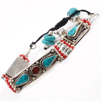 Silvesto India Stone Turquoise, Coral Bracelet