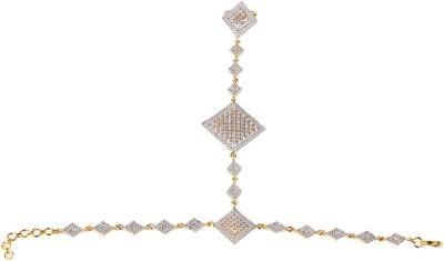 Swasti Jewels Metal Crystal Rhodium Ring Bracelet