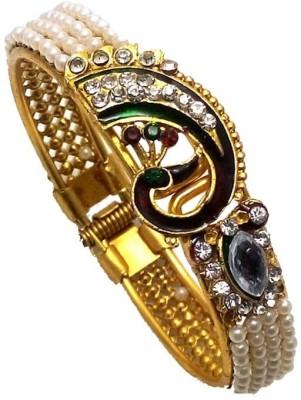 Jewels Guru Alloy Pearl Yellow Gold Bracelet