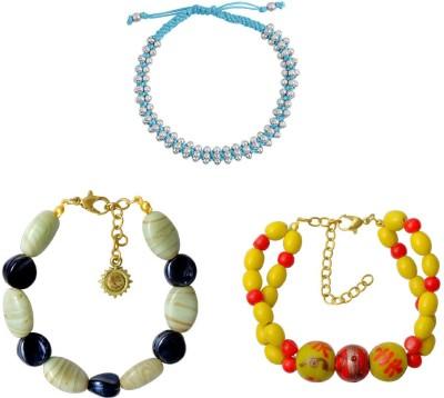 Kenway Retail Glass, Metal, Cotton Dori Brass, Silver Bracelet Set