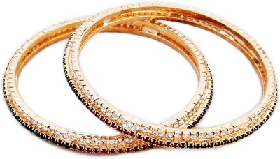 Aura Collection Alloy Crystal Brass Bangle Set