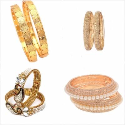 J S IMITATION JEWELLERY Brass Yellow Gold Bracelet Set