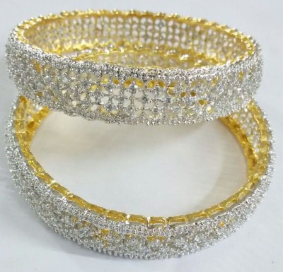 shreejicreations Alloy Cubic Zirconia 10K Yellow Gold Bangle Set