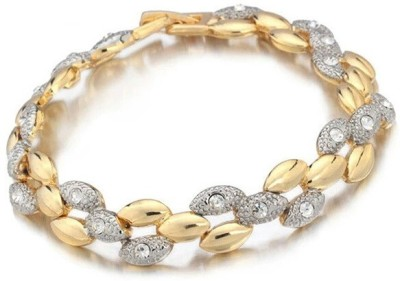 Wearyourfashion Alloy Crystal Yellow Gold, Rhodium Bracelet