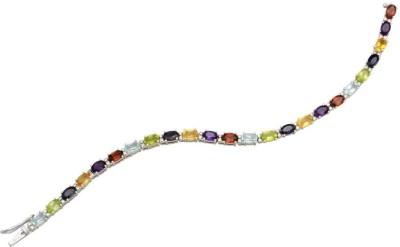 YugshaJewels Sterling Silver Topaz Rhodium Bracelet