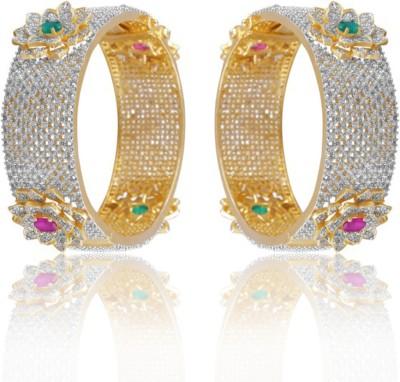 Alysa Brass, Copper, Silver Cubic Zirconia Yellow Gold, Rhodium Bracelet Set
