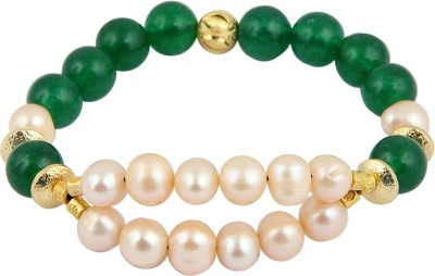Pearlz Ocean Alloy Pearl, Jade Yellow Gold Bracelet