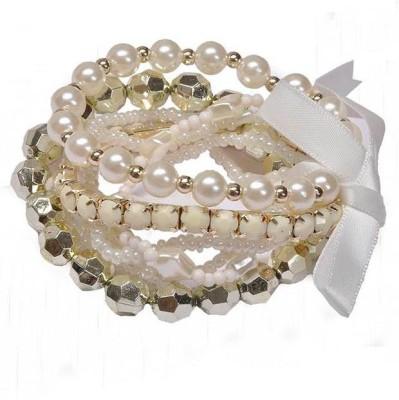 Jewel Touch Alloy, Resin, Ribbon Bracelet Set