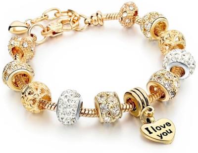 Sansar India Alloy Yellow Gold Charm Bracelet