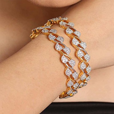 Bandish Alloy Cubic Zirconia 18K Yellow Gold Bangle