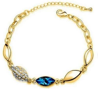 University Trendz Alloy Crystal 18K Yellow Gold Charm Bracelet