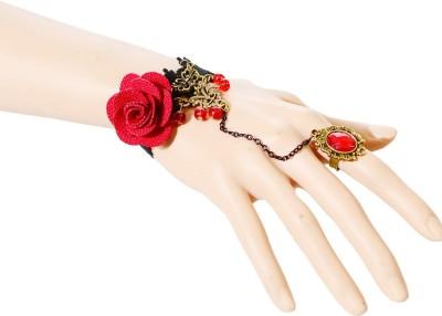Sitaram Fabric Brass Ring Bracelet