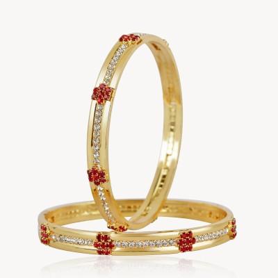 VK Jewels Alloy White Gold Bangle Set(Pack of 2) at flipkart