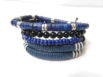 Eleganci Leather, Cotton Dori, Wood Rhodium Charm Bracelet