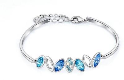 Radiant Jewels Brass Swarovski Crystal Rhodium Bracelet