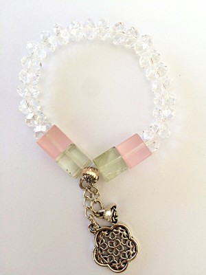 DG Crystal Amethyst, Quartz Charm Bracelet