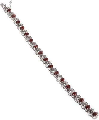 Be You Sterling Silver Garnet Rhodium Tennis Bracelet