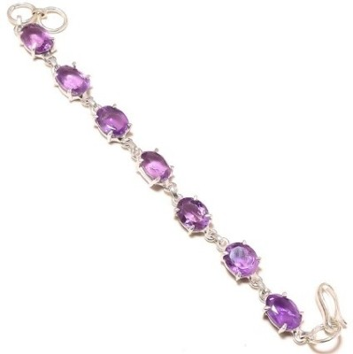 Kirti Gems Sterling Silver Amethyst Bracelet