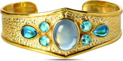 Sparkle Street Glass, Stone, Brass Cuff