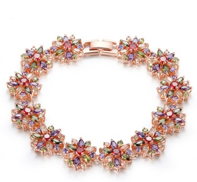 Yellow Chimes Alloy Zircon Rose Gold Bracelet