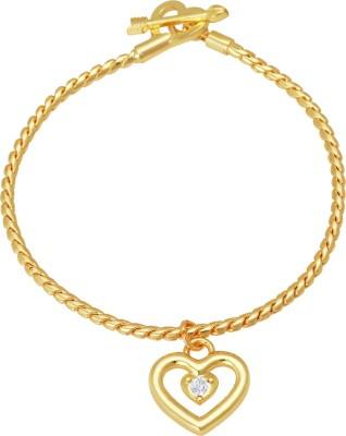 Mahi Alloy Crystal 24K Yellow Gold Charm Bracelet