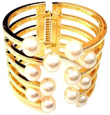 Grace Fashion Villa Alloy Pearl 23K Yellow Gold Cuff