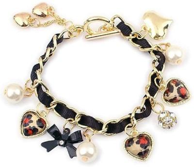 Amour Alloy Pearl, Crystal Charm Bracelet