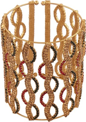 AccessHer Brass Cubic Zirconia Yellow Gold Cuff