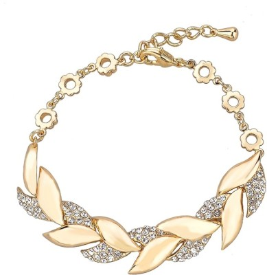 Wearyourfashion Alloy Crystal Yellow Gold Bracelet