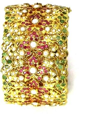 Pearl Paradise Brass Emerald Yellow Gold Bracelet