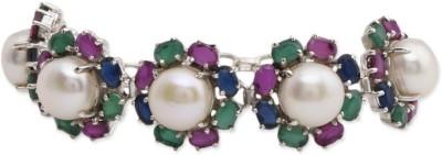 Watch me Silver Topaz, Quartz Rhodium Bracelet