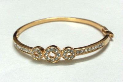 6 Lotus Brass Cubic Zirconia 22K Yellow Gold Bracelet