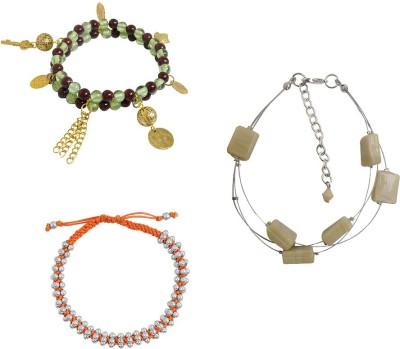 Kenway Retail Glass, Metal, Cotton Dori Silver Bracelet Set