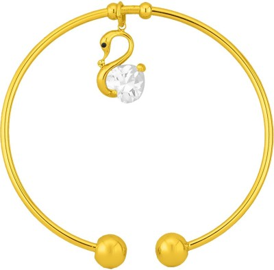 JPearls Alloy Cubic Zirconia Yellow Gold Kada