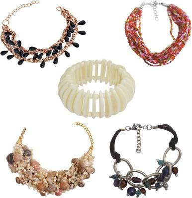 Kenway Retail Glass, Bone, Shell, Metal Copper Bracelet Set