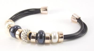 Hightrendz Alloy Cubic Zirconia Black Silver Bracelet