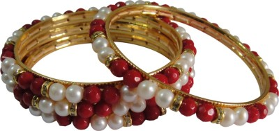 Divine Alloy Coral, Pearl 12K Yellow Gold Bracelet Set
