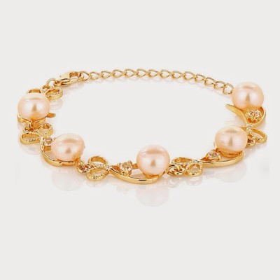 Nisa Pearls & Jewellery Alloy Mother of Pearl Yellow Gold Bracelet