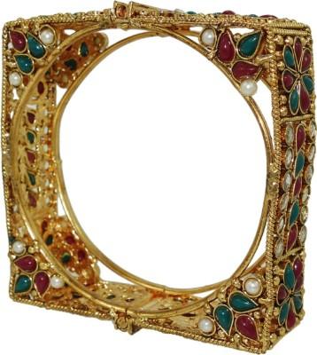 Anjan Brass Cubic Zirconia Yellow Gold Bracelet