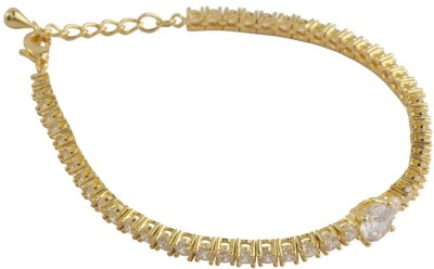 Siyora Brass Cubic Zirconia Yellow Gold Bracelet