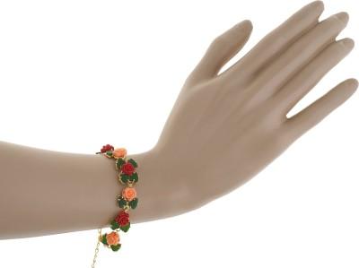 Classique Designer Jewellery Alloy Coral Rhodium Bracelet Set