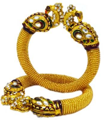 SUJWEL Resin Yellow Gold Kada