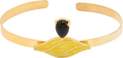 Voylla Alloy Onyx Yellow Gold Cuff