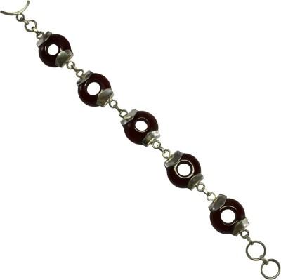 GnJ Sterling Silver Onyx Sterling Silver Bracelet