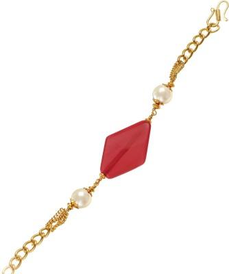 Ijuels Metal, Crystal Crystal, Pearl Yellow Gold Bracelet