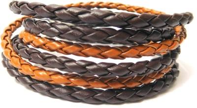 Eleganci Leather Rhodium Charm Bracelet