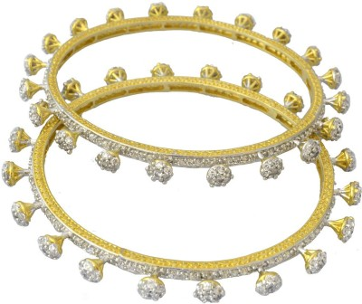 Swarna Alloy Cubic Zirconia Yellow Gold Bangle Set(Pack of 2)